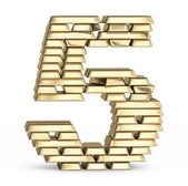 Number 5 from gold bars — Foto Stock
