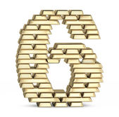 Number 6 from gold bars — Stock Photo