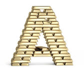 Letter A from gold bars — Stock Photo