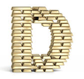 Letter D from gold bars — Foto Stock
