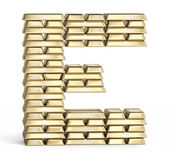 Letter E from gold bars — Stock Photo