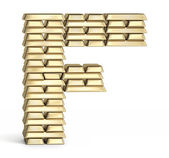 Letter F from gold bars — Stock Photo