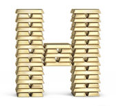 Letter H from gold bars — Stock Photo