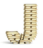 Letter J from gold bars — Foto Stock