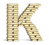 Letter K from gold bars — Stock Photo