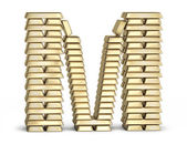 Letter M from gold bars — Stock Photo
