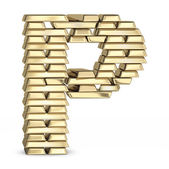Letter P from gold bars — Foto Stock