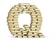 Letter Q from gold bars — Stock Photo