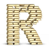 Letter R from gold bars — Stock Photo
