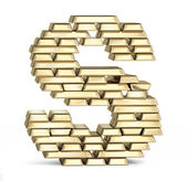 Letter S from gold bars — Stock Photo