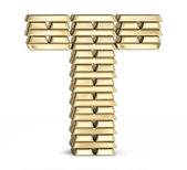 Letter T from gold bars — Foto Stock