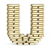 Letter U from gold bars — Stock Photo