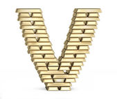 Letter V from gold bars — Stock Photo