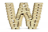 Letter W from gold bars — Stock Photo