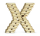 Letter X from gold bars — Foto Stock