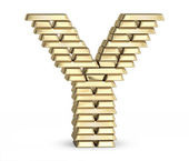 Letter Y from gold bars — Stock Photo