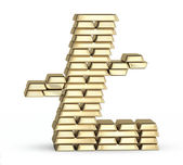 Bitcoin symbol from gold bars — Foto Stock