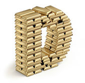 Letter D from gold bars — Stock Photo