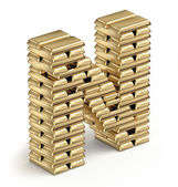 Letter N from gold bars — Stock Photo