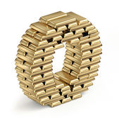 Letter O from gold bars — Stock Photo