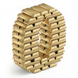 Number 0 from gold bars 3d — Stock Photo