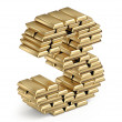 Number 3 from gold bars 3d — Stock Photo