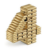 Number 4 from gold bars — Stock Photo