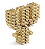 Primecoin symbol from gold bars — Stock Photo