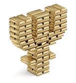 金の延べ棒から primecoin シンボル — ストック写真