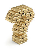 Question mark from gold bars 3d — Stock Photo
