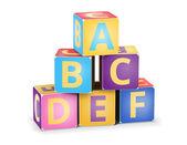 Vector A,B,C cubes pyramide — Stok Vektör
