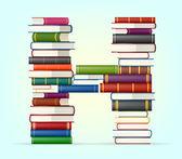 Alfabeto de pilhas de multi colorido livros — Vetorial Stock