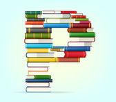 Alfabeto de pilhas de multi colorido livros — Vetor de Stock