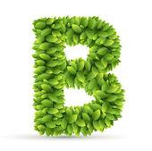 Letter  B,  vector alphabet of green leaves — Stock Vector