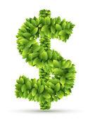 Dollar sign, vector alphabet of green leaves — Stock Vector
