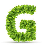 Letter G,  vector alphabet of green leaves — Stockvektor