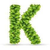 Letter K,  vector alphabet of green leaves — Stock Vector