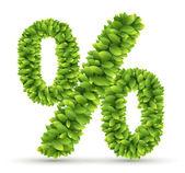 Assinar por cento, alfabeto de vetor de folhas verdes — Vetor de Stock