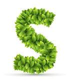 Letter S,  vector alphabet of green leaves — Stock vektor
