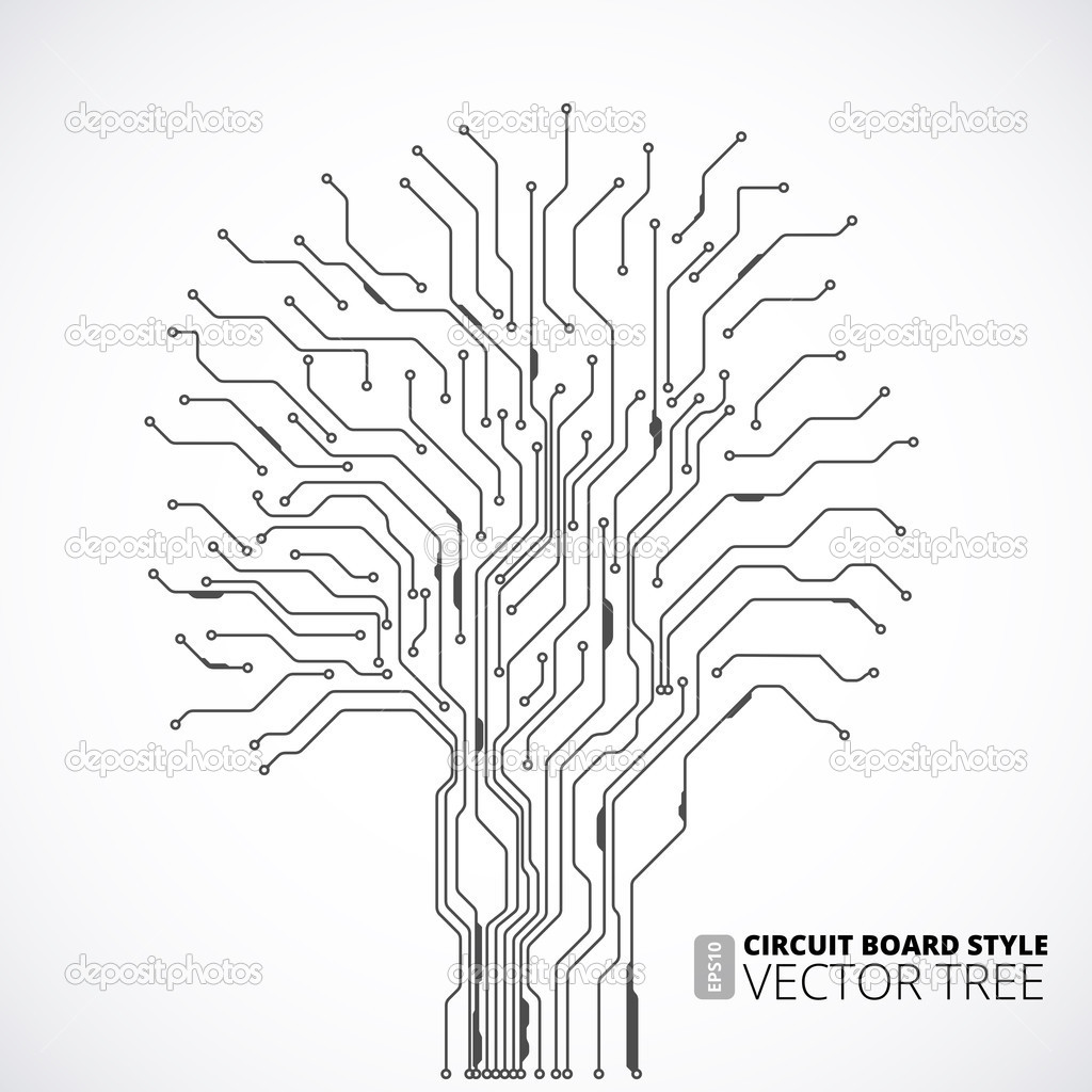 circuit board tree background  u2014 stock vector  u00a9 iunewind