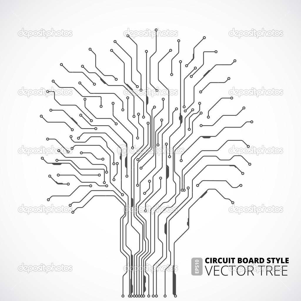 sfondo albero circuito stampato  u2014 vettoriale stock  44128409