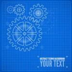 Technical blueprint illustration on blue background — Stock Vector #44203849