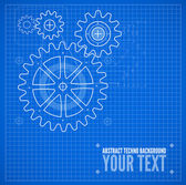 Technical blueprint illustration on blue background — Stockvektor