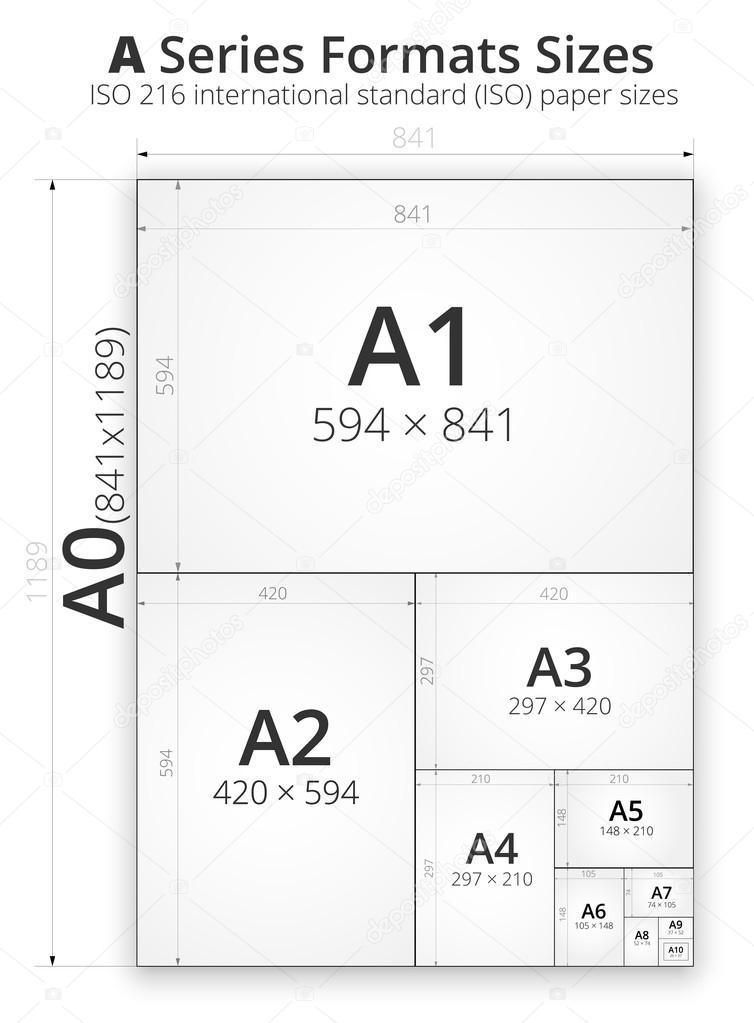 rozmiar formatu arkuszy papieru grafika wektorowa iunewind 44204345. Black Bedroom Furniture Sets. Home Design Ideas