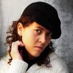 Woman portrait on white background grounge — Stock Photo