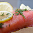 Salted salmon with lemon — Stock Photo