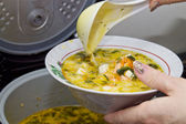 Fish soup with cheese — Stock Photo