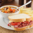 Stock Photo: Pastrami sandwich with soup