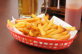 French fries and beer — Stock Photo
