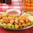 Popcorn shrimp with beer - Stock Photo